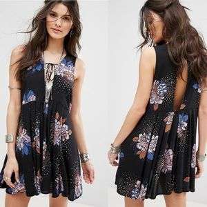 Free People | Lovely Day Black Floral Print Dress